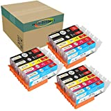 Win-tinten 15 Pack Color Inks Replacement for Canon PGI-220 CLI-221 Ink Cartridge for PGI-520 Ink for Canon PIXMA IP3600 IP4600 MP540 MP620 MP630 MP980 MX860 IP4700 Printers