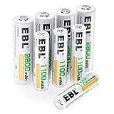 EBL 8 Pack AA AAA Pilas Recargables Ni-MH de 1,2V, 4 x Pilas Recargables AA 2800mAh y 4 x Pilas...