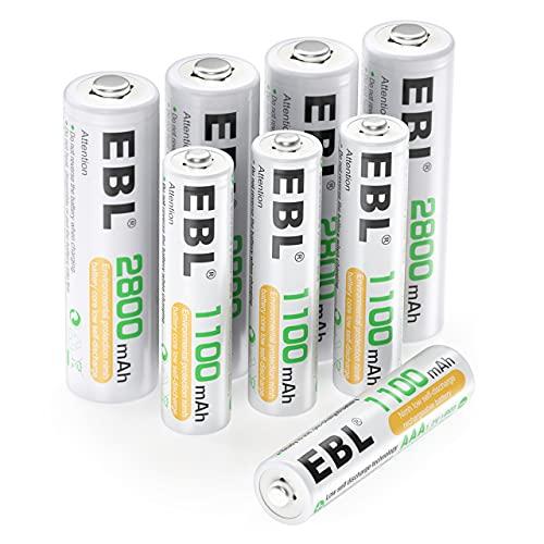 EBL 8 Pack AA AAA Pilas Recargables Ni-MH de 1,2V, 4 x Pilas Recargables AA 2800mAh y 4 x Pilas Recargables AAA 1100mAh 1200 Ciclos