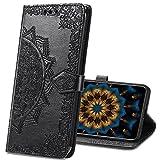 MRSTER LG K50s Hülle, Premium Leder Tasche Flip Wallet Hülle [Standfunktion] [Kartenfächern] PU-Leder Schutzhülle Brieftasche Handyhülle für LG K50s. SD Mandala Black