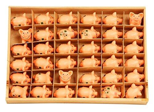 Geschenkestadl 36 Stück Glücksschweine Schweinchen Ferkel Viel Glück Glücksbringer in Holzbox