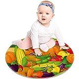Alfombras redondas suaves y antideslizantes, coloridas verduras, calabazas, guisantes, berenjenas, lavables, para sala de estar, baño, dormitorio, 2 pies