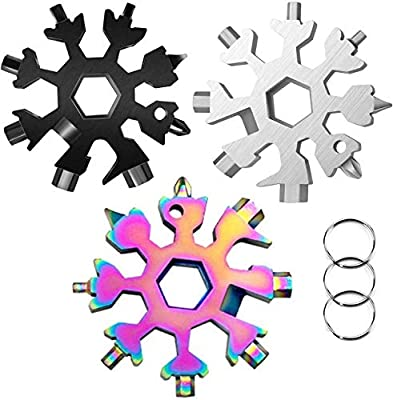 3 Pack-18 In 1 snowflake multitool?Stainless Steel Snowflakes Multi-Tool - 18-in-1 Stainless Multi-tool Father's Day Gift Christmas Present (Standard, Stainless)
