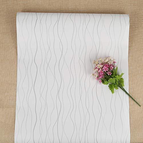Selbstklebende Tapete Weiß Silber Peel und Stick Tapeten für Küche Wandschrank Streifen Tapete Aufkleber Rollen für Bad Schlafzimmer Dampfgarer Möbel Kleiderschrank Wasserdicht 44*500cm