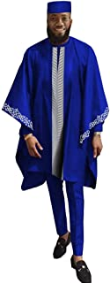 African Mens Clothing Agbada Outfit Kaftan Wear White 4 Pieces for Man Long Sleeves Shirt Ankara Pant and Hat