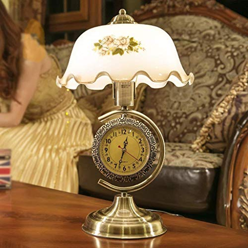 LKOER Lámpara de Noche Americana lámpara de Noche Retra China con Relojes Decorativos de Vidrio jinyang