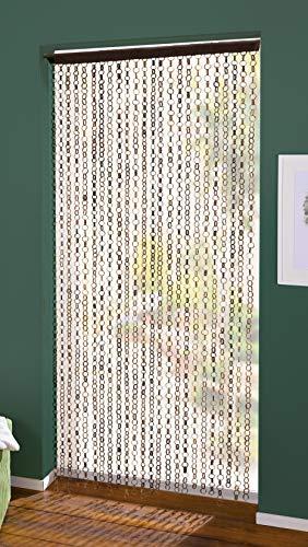 Bambus Türvorhang Ring in Ring 90 x 185 cm, Balkontür Insektenschutz Vorhang, Fadenvorhang
