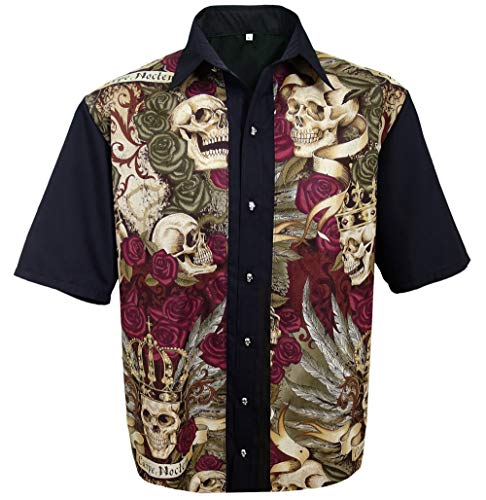 Eve Couture Hawaiihemd Herren Kurzarm Skull Totenkopf Bowling Hemd Rockabilly Rock´n Roll Hawaii Carpe Noctem (L (52))