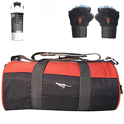 5 O' CLOCK SPORTS Soft Polyster Gym Bag With Shoe Compartment Cyclone Shaker Cup and Gym Gloves (Red/Black)