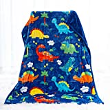 Sivio Kids Fleece Weighted Blanket (5lbs), Ultra Soft and Comfy Heavy Blanket, Great for Calming and Sleep, Fall and Winter Flannel Weighted Blanket for Toddler, Blue Dinosaur, 36x48inch