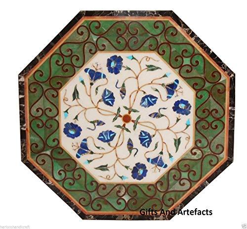 Geschenken en voorwerpen 30 inch marmer salontafel top Pietra Dura kunst bij willekeurig werk met Lapis Lazuli edelstenen bladeren patroon tuintafel