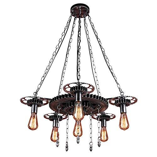 PLLP Candelabro, candelabros grandes de metal industrial retro, Farmhouse Loft Lámpara de techo de 6 luces Lámpara colgante rústica Lámpara antigua para sala de estar con isla de cocina, 31 'W,Plata