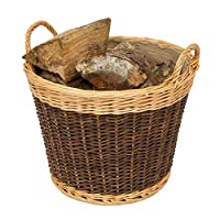 Heavy Duty Large size round wicker Log basket. Basket lined with Jute Liner and pasted neatly inside the basket Comes complete with heavy duty rounded side handles which make carrying around easy work Versatile Multi-Purpose Basket finished in a two ...