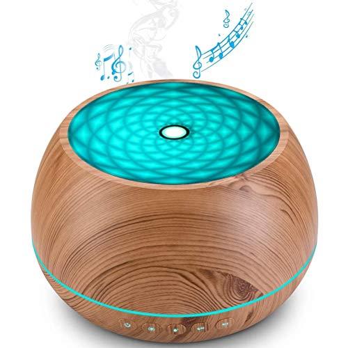 Musik Diffusor für Ätherische Öle, 1000ml Aroma Öl Luftbefeuchter mit Bluetooth Lautsprecher, 7 Farbige Duftlampen, Timer Einstellung, Bis zu 22H Verwenden, Waterless Auto-Off, BPA-frei,Braun