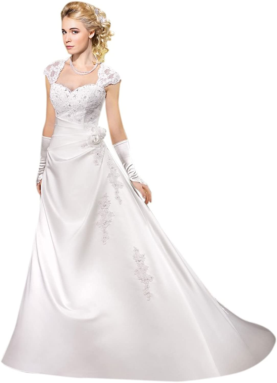 Dearta Women's ALine Sweetheart Court Train Satin Dress