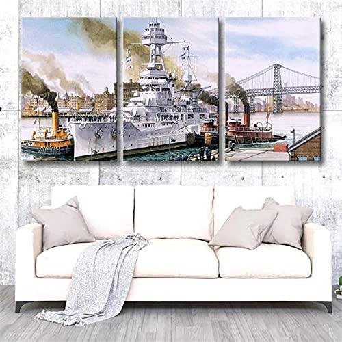 Cuadro en Lienzo Batalla de buques de guerra de las fuerzas armadas 150X70Cm - XXL Impresión Material Tejido no Tejido Artística Imagen Gráfica Decoracion de Pared - 3 piezas - Listo para colgar