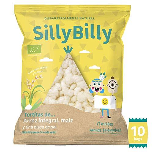 SillyBilly - Snack ecológico - Pack 10 bolsitas - Chips de Tortitas de arroz integral y maiz en forma de nachos - Almuerzos y meriendas - Para picar entre horas