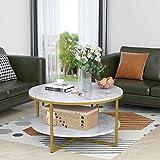 Couchtisch Rund Cofee Table Round, 2 Ebenen Modern Marmor Holz Couchtisch, Weiß mit Gold, 90x90x48cm,