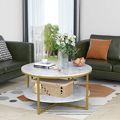 Round Coffee Table Modern Marble Style with Gold Metal Legs Open Storage Shelf for Living Room, White, 90x90x48cm