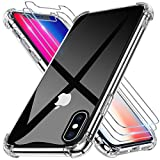Alexcase Coque Compatible avec iPhone X avec 3 Verre Trempé Protection écran Transparent Souple Antichoc Anti-Scratch Anti-dérapante Air Cushion Bumper TPU Silicone Housse Cover pour iPhone 10