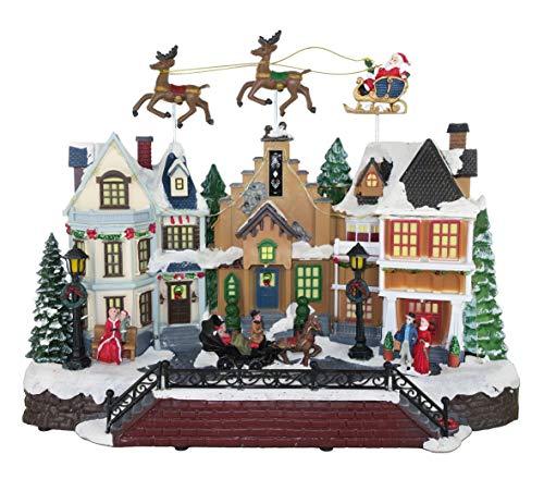25 twentyfive Paisaje navideño con Trineo de Papá Noel en Movimiento, Luces y música - 39 x 31 x 19 cm