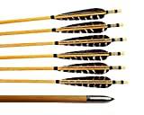 Huntingdoor 12 Pcs Turkey Feather Fletching Wooden Arrows Archery Target Arrows with Field Points for Recurve Bow or Longbow Targeting Practice Shooting (Nature)