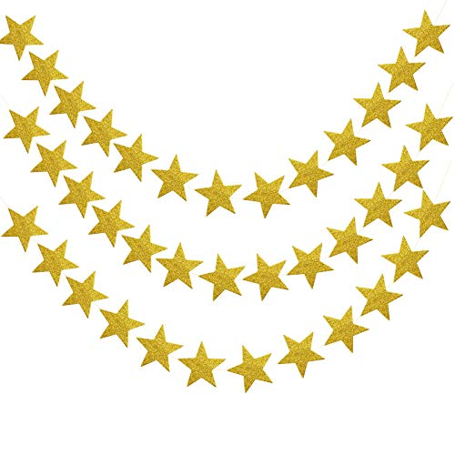 Pinsheng Glitter Star Paper Garland,Glitter Reflective Twinkle Star Hanging Docorations, 52 Feet Paper Garland Banner Hanging Decoration Suitable for Wedding,Birthday,Christmas and Party (Golden)