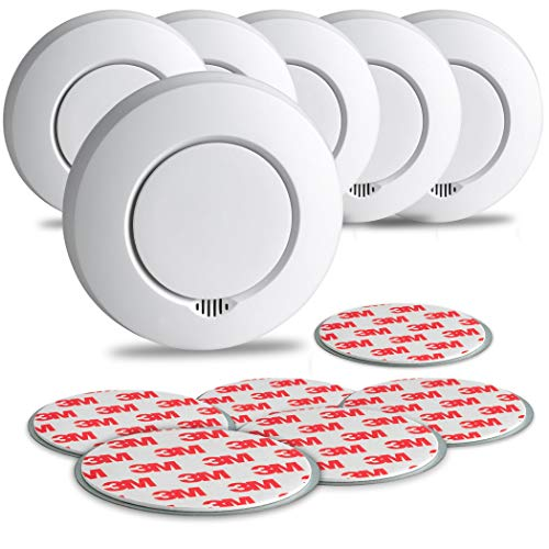 SEBSON Funk Rauchmelder austauschbare Batterien, vernetzbar (GS412), DIN EN 14604, fotoelektrischer Rauchwarnmelder Hitzemelder inkl. Magnethalterung, 6er Pack