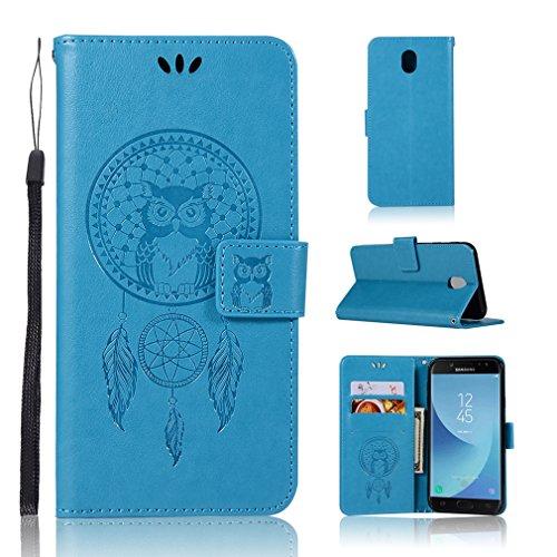 LMAZWUFULM Hülle für Samsung Galaxy J7 (2017) DUOS/SM-J730 (5,48 Zoll) PU Leder Magnet Brieftasche Lederhülle Eule & Traumfänger Muster Standfunktion Ledertasche Flip Cover für Galaxy J7 Blau