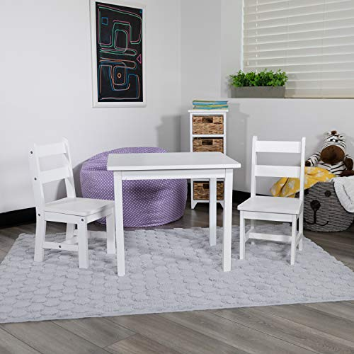 Flash Furniture Kids Solid Hardwood Table and Chair Set for Playroom Bedroom Kitchen  3 Piece Set  White
