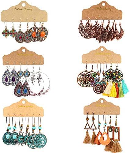 18 Pairs Vintage Earrings with Bohemian Style Alloy Tassel Long Layered Dangle Hoop Earrings product image