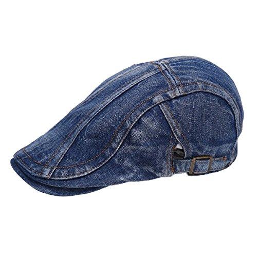 Gorra de hombre de tejido vaquero estilo Newsboy, gorra plana estilo Gatsby, gorra estilo Ivy, gorra de caza estilo irlandés azul oscuro