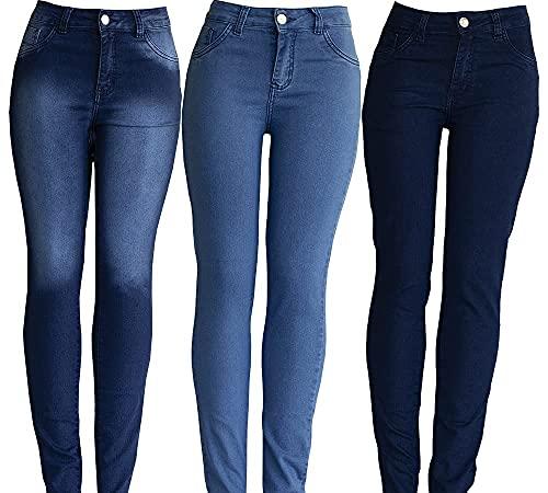 Kit Atacado 3 Calças Jeans Feminina Cintura Alta. (42)