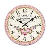 Reloj de pared de madera MDF redondo para el hogar, 34 cm, diseño floral, rosa, flor, plantas, vintage, perfumes, números árabes, cara abierta, sala de estar, dormitorio y cocina, multicolor