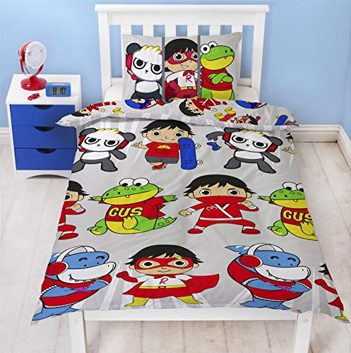 Ryans World Gang Single Duvet Cover | Reversible Official Merchandise Bedding | Featuring Red Titan, Combo Panda & Gus