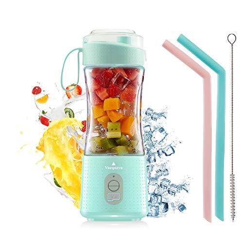 Tragbar Mixer, Vaeqozva Mini Standmixer Obst wiederaufladbar mit USB, Persönlicher Mixgetränke Fruchtsaft Blender für Smoothie, 380ml, 6 3D-Klingen, Hellblau