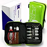 KRÖNYO Tubeless Tire Repair Kit, Emergency Roadside Compact Set with CO2 Inflator Cartridges for Car, Motorcycle, Bike, ATV. Fix Punctures, Plug and Inflate Flat Tires.