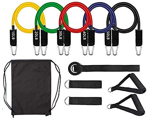 Elite Athletics 11PC Exercise and Resistance Bands Set - Including 5 Stackable Exercise Bands Up To 150 lbs with Handles, Leg Ankle Straps, Door Anchor and Drawstring Carry Bag for Resistance Training, Physical Therapy, Home Workouts, Yoga, Pilates