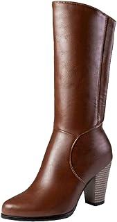 VulusValas Women Mid Calf Short Boots Zip