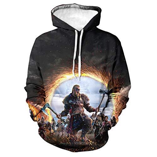 lzxyq Assassins Creed Valhalla 3D Print Hoodie Sudaderas Pareja Moda Casual Cool Pullover Street Hoodi-Wy01894_M