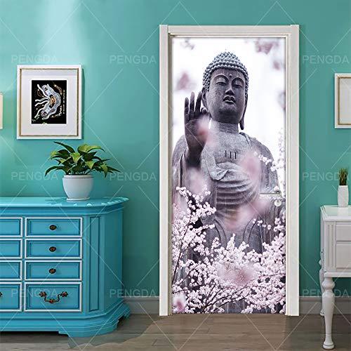 Deursticker 3D effect Boeddha-beeld religieuze creativiteit zelfklevend deurbehang muurschildering pvc fotobehang waterdicht deurposter deursticker afneembaar behang voor deurpaneel slaapkamer keuken badkamer 90x210cm