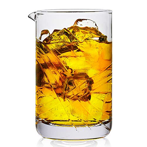 Cocktail Mixing Glass,Crystal Seamless Mixing Pitcher with Thick Bottom,Premium Stir Glass for Home and Bar,20oz, Perfect Yarai style Pitcher for Stirring Drinks