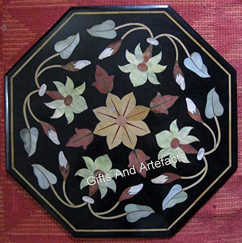Gifts And Artefacts Table basse Octogone en marbre noir Pietra Dura Art Pierres semi-précieuses artisanales Cottage Indien 61 cm