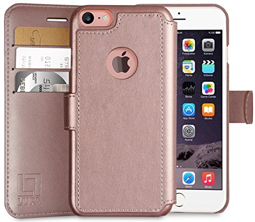 LUPA iPhone 7 Wallet Case, Durable and Slim, Lightweight with Classic Design & Ultra-Strong Magnetic Closure, Faux Leather, Rose Gold, Apple 7 (2016)