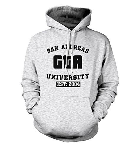 net-shirts San Andreas Hoodie Kapuzenpullover mit Aufdruck im College Style Inspired by GTA, Größe XL, Graumeliert