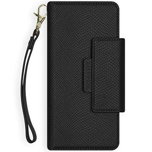 Selencia - Funda para iPhone 12 Mini - Llyr 2 en 1 - Funda de piel de serpiente - Funda para móvil con tapa trasera extraíble en negro [4 ranuras para tarjetas y correa de mano]