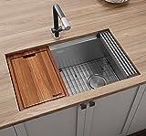 Ruvati 30-inch Workstation Slope Bottom Offset Drain Undermount 16 Gauge Kitchen Sink - RVH8582