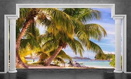 Lxsart Tapete Rom-Pocos Strandtapeten Wohnkultur Wohnzimmer Seaview 3D Tv-Hintergrundwand-400Cmx280Cm