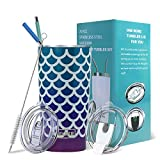 Yoelike Tumbler 20oz Stainless Steel Vacuum Insulated Travel Mug with Straw, Lid, Clean Brush, Double Wall Coffee Cup for Home, Office, Outdoor Great for Ice Drinks and Hot Beverage(Mermaid, 20 oz)