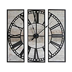 NIKKY HOME Wall Mounted Clock Retro Vintage Distressed 3 in 1 Wood Face & Metal Framed Decorative Clock - 48